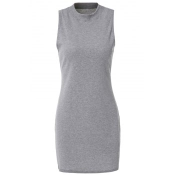 Stylish Turtle Neck Solid Color Sleeveless Women's Bodycon Dress - GRAY L