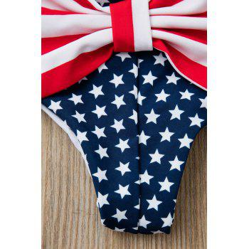 Sexy Style Star Stripe Print Bowknot Embellished Women's Briefs - DEEP BLUE S