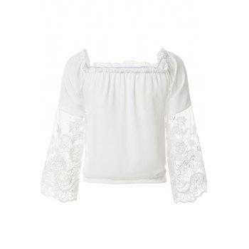 Fashionable Slash Neck Solid Color Lace Splicing Tie-Up Blouse For Women - WHITE WHITE
