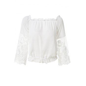 Fashionable Slash Neck Solid Color Lace Splicing Tie-Up Blouse For Women