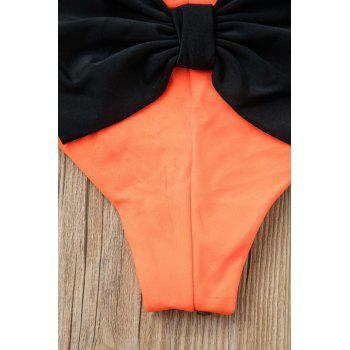 Sexy Style Bowknot Embellished Color Block Women's Briefs - S S