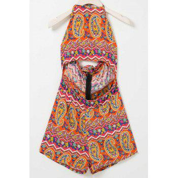 Alluring Halter Neck Tie-Up Paisley Print Romper For Women