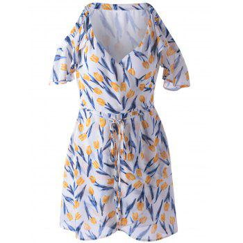 Elegant Print Cold Shoulder Dress For Women