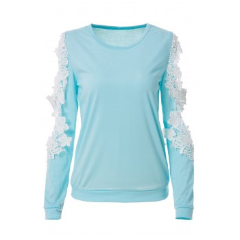 Stylish Women's Scoop Neck Long Sleeve Cut Out Crochet Knitwear