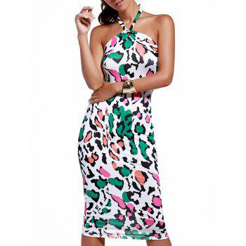 Fashionable Women's Colorful Leopard Print Halter Dress