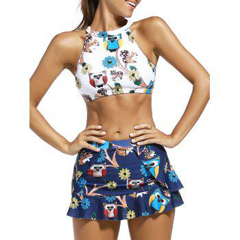 High Neck Print Crop Top + Skirt + Briefs Swimsuit