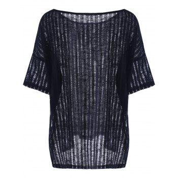 Casual Batwing Sleeve Hollow Out T-Shirt For Women - BLACK S
