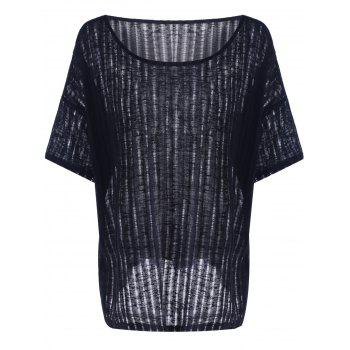 Casual Batwing Sleeve Hollow Out T-Shirt For Women