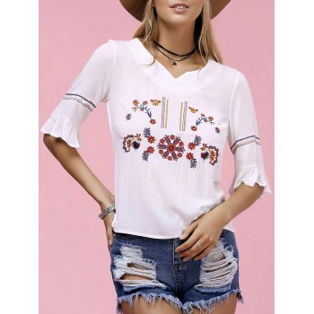 Trendy Women's V-Neck Embroidered T-Shirt