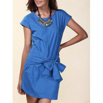 Trendy Women's Short Sleeve Pure Color Bowknot Embellished Denim Dress
