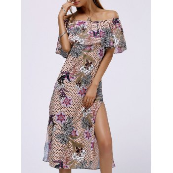 Fashionable Off The Shoulder Flounce Slit Floral Print Women's Dress