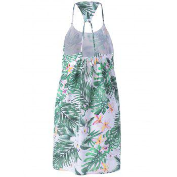 Fashionable Spaghetti Strap Loose-Fitting Printing Dress For Women - WHITE/GREEN S