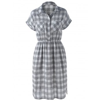 Stylish Women's Turn-Down Collar Short Sleeve Slit Plaid Dress