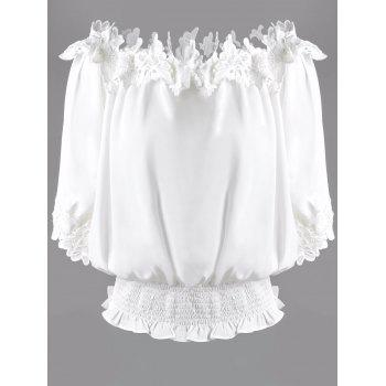 Sweet Women's Off The Shoulder White Lacy 3/4 Sleeve Blouse