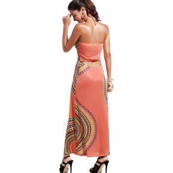 Bohemian Women's Halter Abstract Print Open Back Maxi Dress - S S
