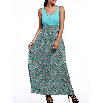 Tribal Print Empire Waist Maxi Dress