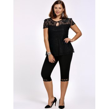 Lace Trim Plus Size High Waist Capri Leggings - BLACK BLACK