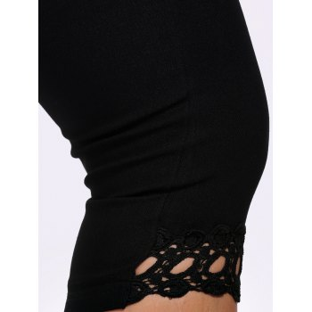 Lace Trim Plus Size High Waist Capri Leggings - 2XL 2XL