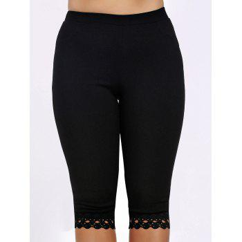 Lace Trim Plus Size High Waist Capri Leggings - BLACK XL