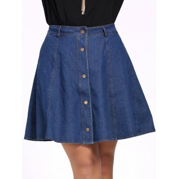 Chic Plus Size Pure Color Button Down Denim Skirt