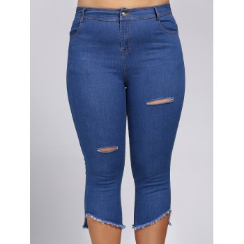 Trendy Plus Size Pocket Design Broken Hole Women's Capri Jeans