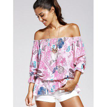 Off The Shoulder Print Chiffon Women's Blouse - PINK XL
