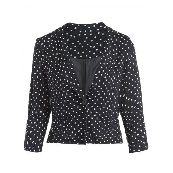 Simple Style Long Sleeve Polka Dot V Neck Jacket For Women