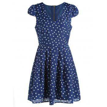 Simple Style V Neck Short Sleeve Polka Dot Dress For Women