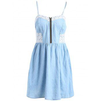Simple Style Spaghetti Strap Laced Denim Dress For Women