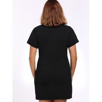 Alluring Plus Size Black Cut Out Buckle Women's Dress - BLACK L
