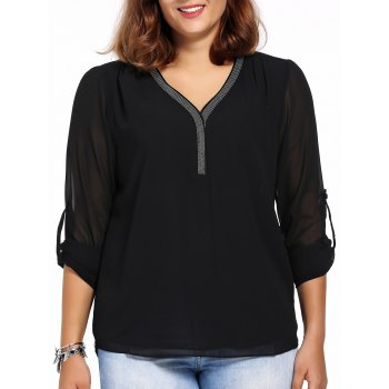 Chic Plus Size High-Low Hem Long Sleeve V Neck Women's Mesh Blouse