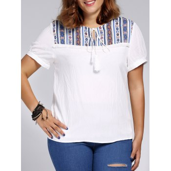 Women's Plus Size Ethnic Printed Spliced T-Shirt