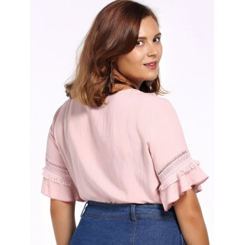 Sweet Plus Size Fringed Hollow Out Flare Sleeve Women's Blouse - 4XL 4XL