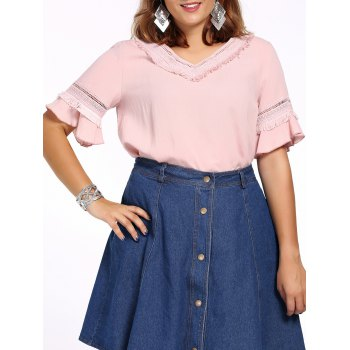 Sweet Plus Size Fringed Hollow Out Flare Sleeve Women's Blouse - PINK PINK