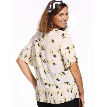 Chic Plus Size Pleated Tiny Flower Print Women's Blouse - OFF WHITE OFF WHITE