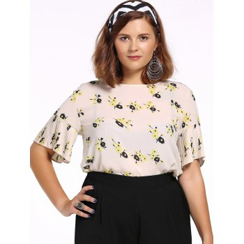 Chic Plus Size Pleated Tiny Flower Print Women's Blouse - OFF-WHITE XL