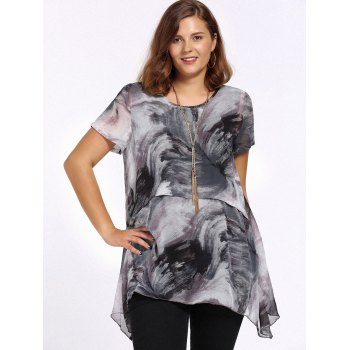 Chic Plus Size Printed Asymmetric Women's Blouse - 3XL 3XL