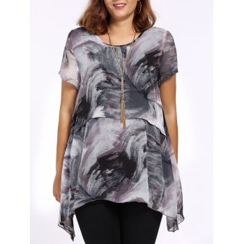 Chic Plus Size Printed Asymmetric Women's Blouse - GRAY 3XL