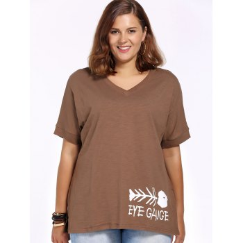 Casual Plus Size Cut Out V Neck Fishbone Print Women's T-Shirt - COFFEE COFFEE