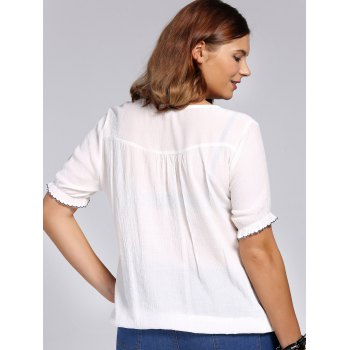 Chic Plus Size Flower Embroidered V Neck Women's Blouse - WHITE 4XL