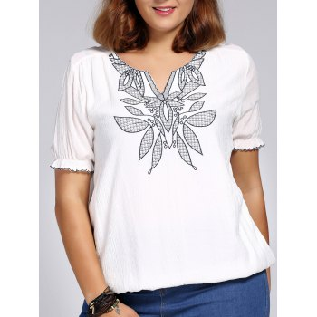 Chic Plus Size Flower Embroidered V Neck Women's Blouse