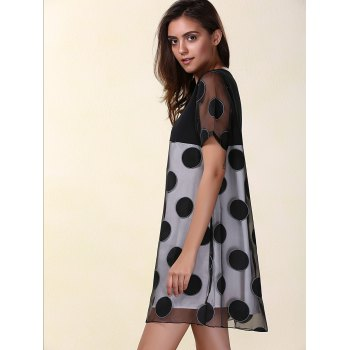 Mesh Panel Polka Dot Mini A Line Dress - BLACK XL