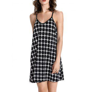 Checked Backless Mini Spaghetti Strap Dress