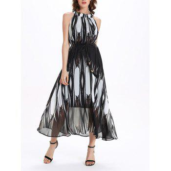 Graceful Round Neck Sleeveless Gradient Women's Print Dress - WHITE AND BLACK XL