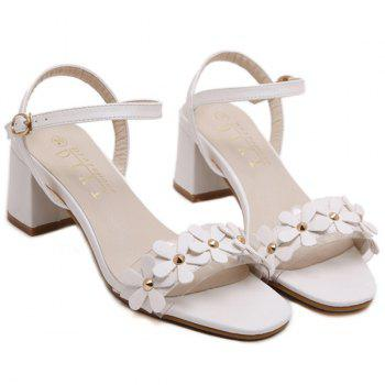 Casual Transparent Plastic and Flowers Design Women's Sandals - WHITE 38