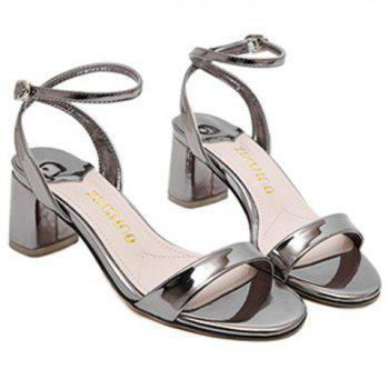 Stylish Ankle Strap and Patent Leather Design Women's Sandals
