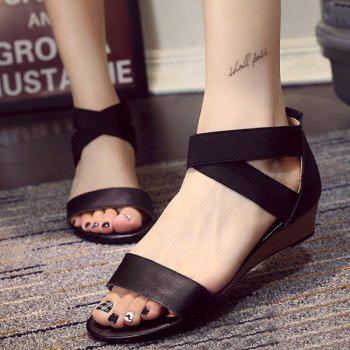 Casual Solid Colour and Elastic Band Design Women's Sandals - BLACK 39