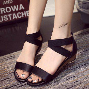 Casual Solid Colour and Elastic Band Design Women's Sandals - BLACK 38