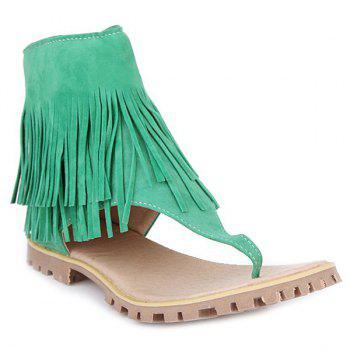 Rome Style Fringe and Zipper Design Women's Sandals