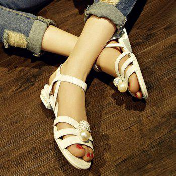 Casual Flat Heel and Beading Design Women's Sandals - WHITE 39